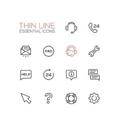 Help Center - Thin Single Line Icons Set vector