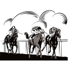 Horses and riders during a race vector