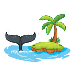 Humpback whale tail next to island vector