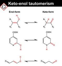 Keto-enol tautomerism reaction vector image