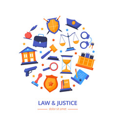 Law and justice - flat design style banner vector