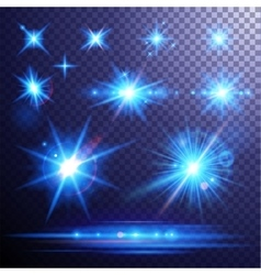 Lens flares and light effects set vector image