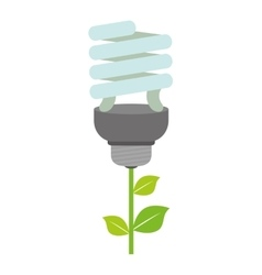 Light bulb and leaf icon Save energy design vector image