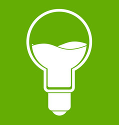 light bulb with blue water inside icon green vector image