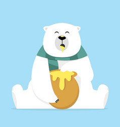 lonely teddy bear eating sweet honey vector image