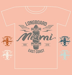 Longboard emblem girls retro print vector
