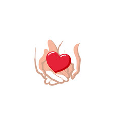 love giving heart hands holding logo vector image