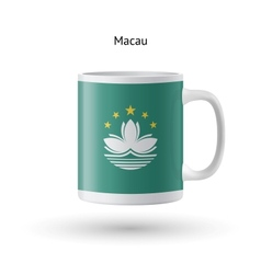 Macau flag souvenir mug on white background vector