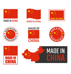 made in china labels set chinese product emblem vector image