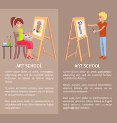 man and woman drawing pictures on easel pencils vector image