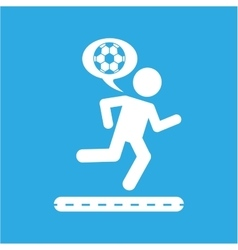 man silhouette running with ball soccer icon vector image