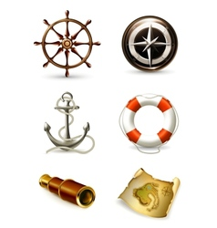 Marine set high quality icons vector image