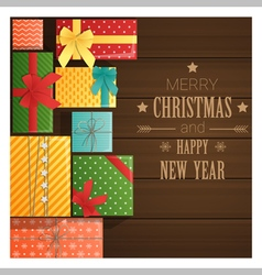 Merry Christmas and Happy New Year greeting card 6 vector image