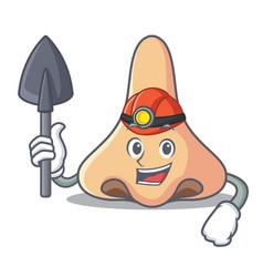 Miner nose mascot cartoon style vector