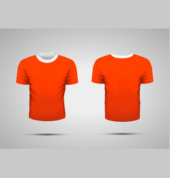mockup of blank red realistic sport t-shirt with vector image