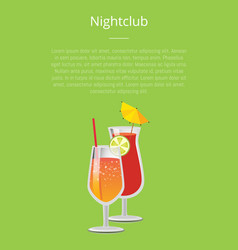 Nightclub parties with lemonade cocktails glasses vector
