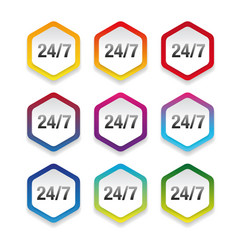 Nonstop support label set colorful vector