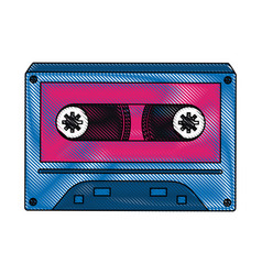 old cassette media pop art colors vector image
