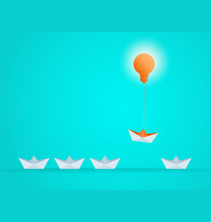 Outstanding the boat rises above with light bulb vector