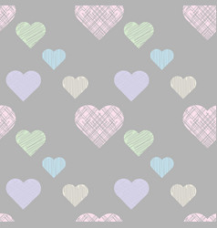 pastel seamless pattern with hatching hearts vector image