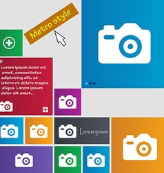 Photo Camera icon sign Metro style buttons Modern vector image