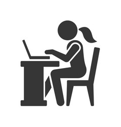 pictogram businesswoman working on computer vector image