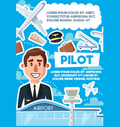 Pilot vacancy skillful aviator recruitment poster vector
