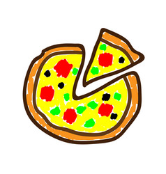 Pizza in a deliberately childish style child vector