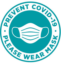 Please wear medical mask signage or sticker vector
