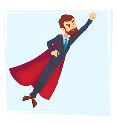 powerful businessman superhero hero in red cape vector image
