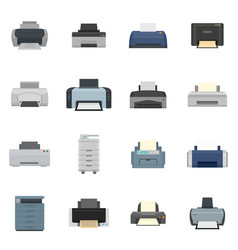 Printer office copy document icons set flat style vector