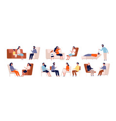 psychotherapy adult counselor family group vector image