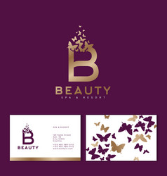 purple b letter flying butterflies beauty logo vector image