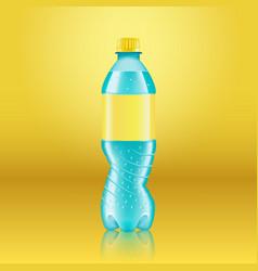 Realistic soda lemonade bottle mock up with yellow vector