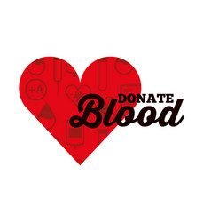 red heart medical icons donate blood vector image