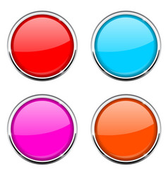 Round button with chrome frame colored collection vector