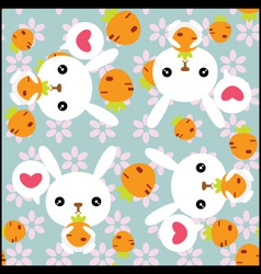 Seamless background with cute rabbits vector