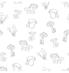 seamless pattern background with mushroom black vector image