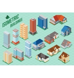 set 3d isometric private houses and tall vector image