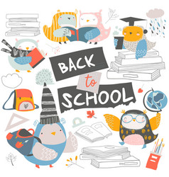 set cute owls with books back to school vector image
