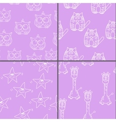 Set funny seamless pattern with cat giraffe owls vector