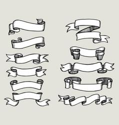 set hand drawn doodle ribbon banner vector image