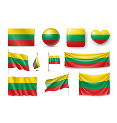 set lithuania flags banners banners symbols vector image
