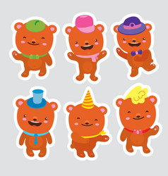 set of bears funny cartoon dancing bears in hats vector image