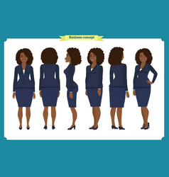 set of black businesswoman character design vector image