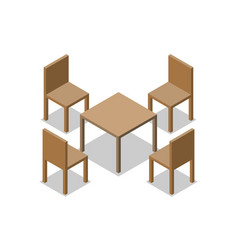 set of dining or cafe wooden furniture four vector image
