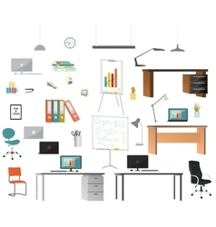 Set of office elements vector image vector image