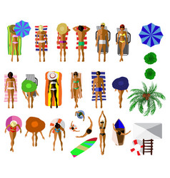 set of people on the summer beach vector image