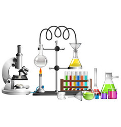 Set science equipments on white background vector
