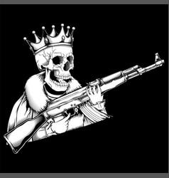 skull king handling gun vector image